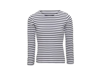 Asquith & Fox Womens/Ladies Mariniere Coastal Long Sleeve T-Shirt (White/Navy) (XL)