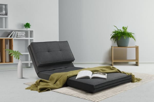 Ovela 2-in-1 Lounge Chair and Futon (Charcoal)