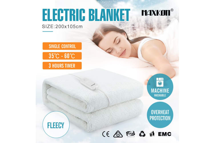 Maxkon King Single 200X105CM Fully Fitted Artificial Wool Electric Blanket