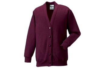Russell Workwear Mens Sweatshirt Cardigan (Burgundy)