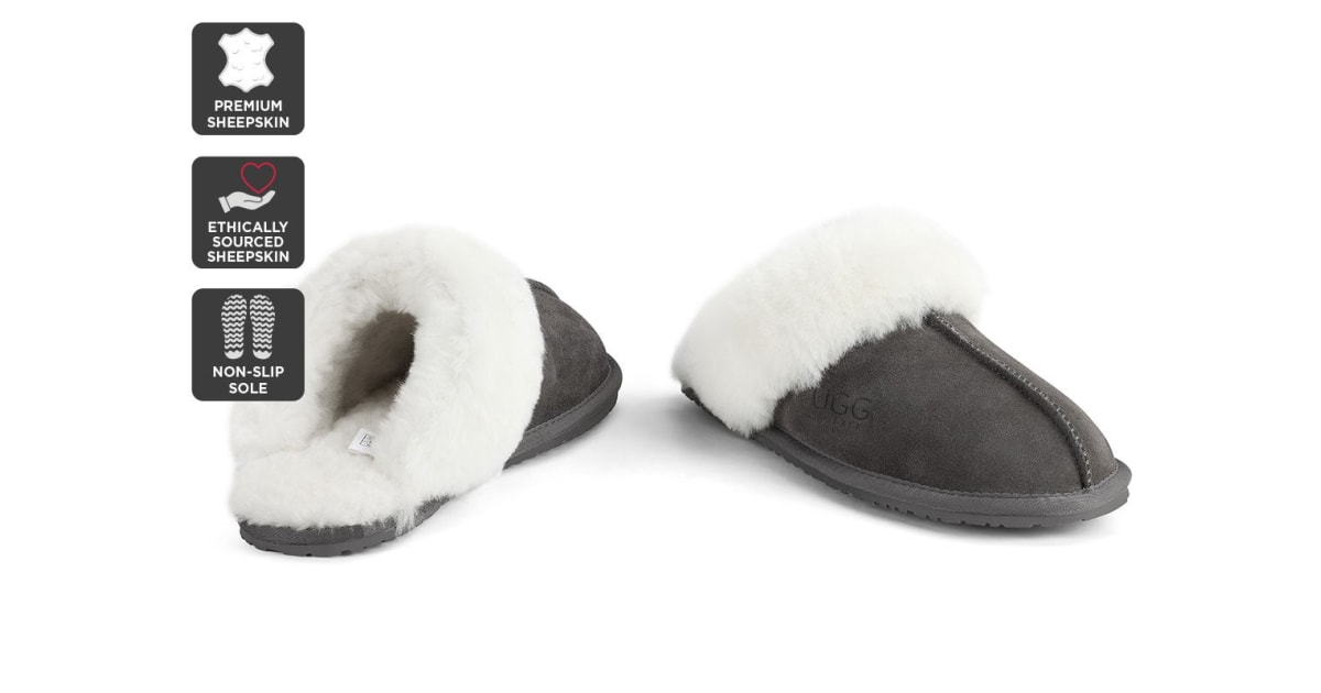 13157101253 Outback Ugg Slippers - Premium Sheepskin (Grey, 13M / 14W US) | Boots