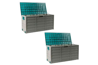 2x Mytopia Outdoor Storage Box Lockable Green Weatherproof Garden Deck Toy Shed