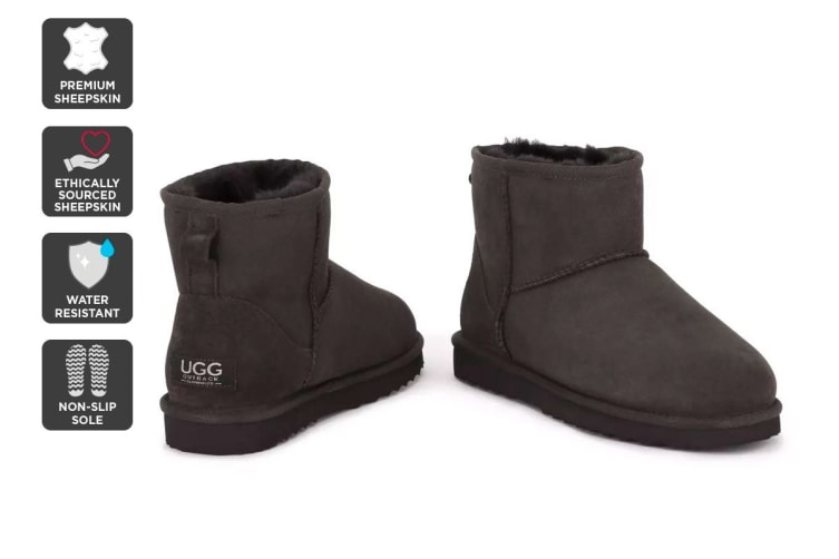 Outback Ugg Boots Mini Classic - Premium Sheepskin (Chocolate, Size 8M / 9W US)