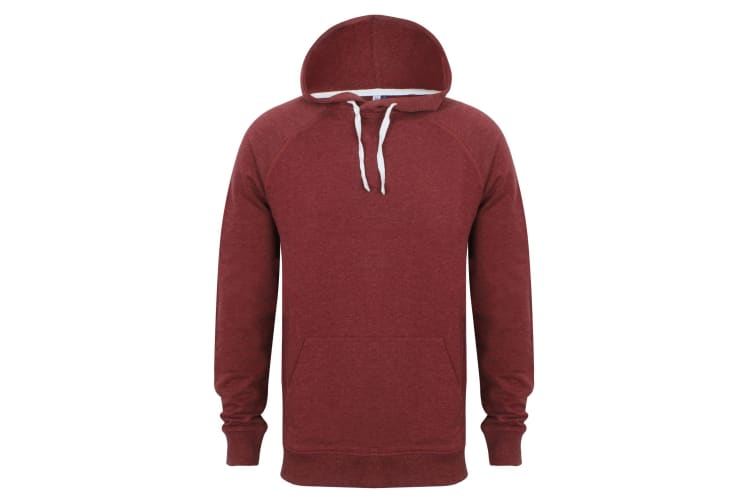 Front Row Mens Slim Fit French Terry Hoodie (Burgundy Marl) (XS)