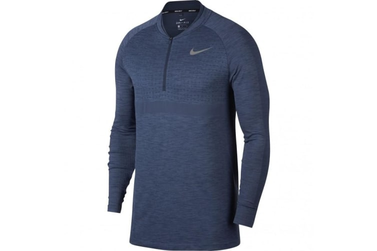 Nike Mens Seamless Knit Zip Long Sleeve Cover Top (Light Carbon/Thunderblue) (2XL)