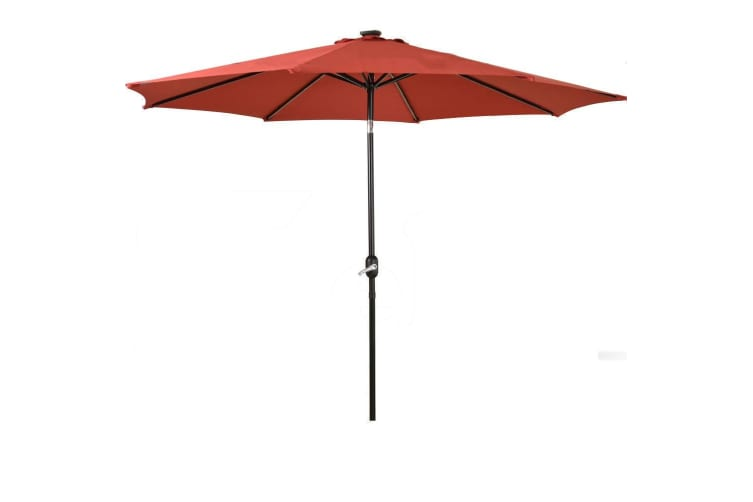 Outdoor Patio Aluminum Tiltable Solar Umbrella Beach Garden Home With LED Option  -  No ledQuarry red9FT