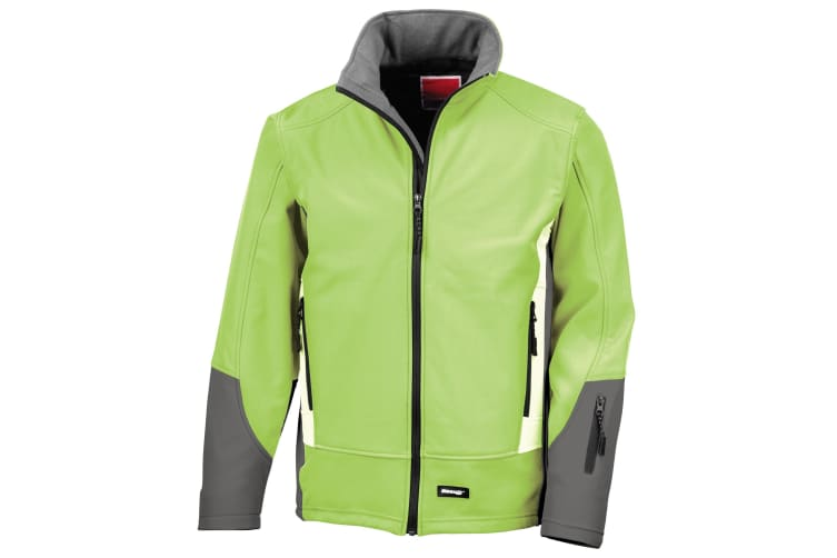 Result Mens Blade 3 Layer Softshell Performance Jacket (Water Resistant And Windproof) (Lime/ Charcoal/ Pale Grey) (L)