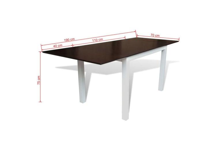 vidaXL Extending Dining Table Rubberwood Brown and White 190 cm
