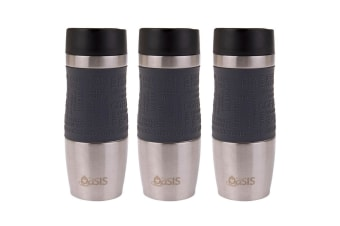 3x Oasis Cafe Stainless Steel 380ml Insulated Travel Drinkware Mug Charcoal Grey