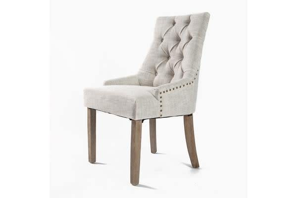 French Provincial Oak Leg Chair AMOUR - CREAM