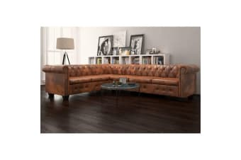 vidaXL Chesterfield Corner Sofa 6-Seater Artificial Leather Brown