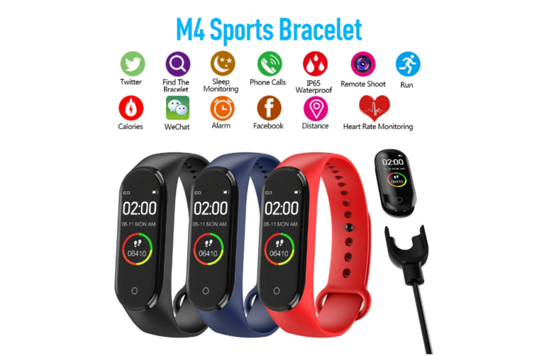 M4 Colorful Screen Smart Bracelet Fitness Tracker Waterproof Wristband,Blood Pressure Heart Rate Monitor - Red