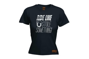 Ride Like The Wind Cycling Tee - You Stole Something - (Large Black Womens T Shirt)