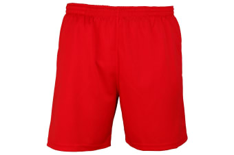 Just Cool Mens Sports Shorts (Fire Red) (2XL)
