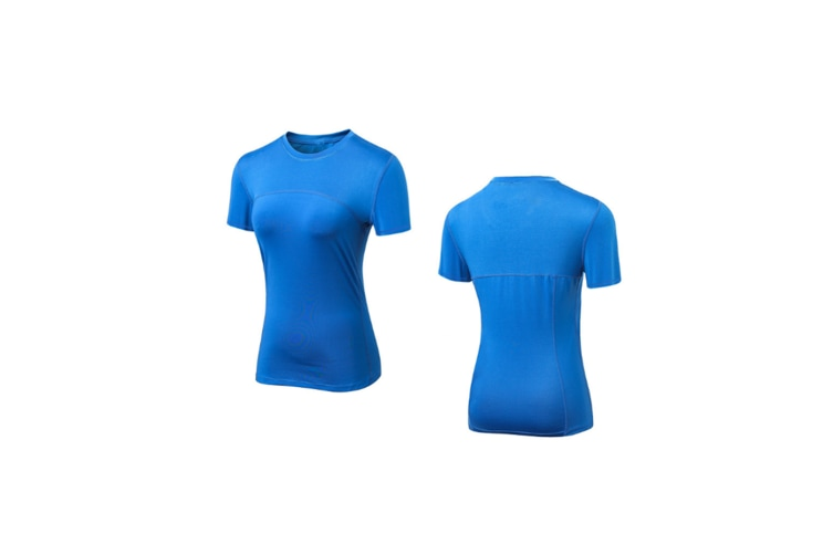 Women'S Compression Shirts Crewneck Short-Sleeve Athletic T-Shirts - Blue Blue XL