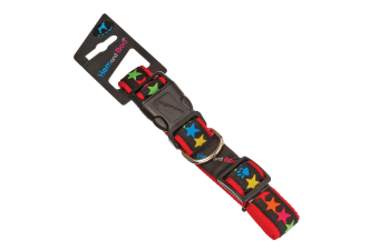 Hem & Boo Adjustable Star Pattern Nylon Dog Collar (Black/Multicoloured) (1.9cm x 35-45cm)