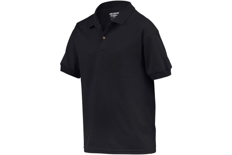 Gildan DryBlend Childrens Unisex Jersey Polo Shirt (Black) (L)