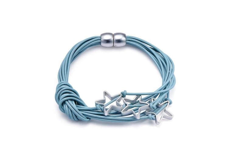 Intrigue Womens/Ladies Leather Bracelet With Star Charms (Blue) (One Size)