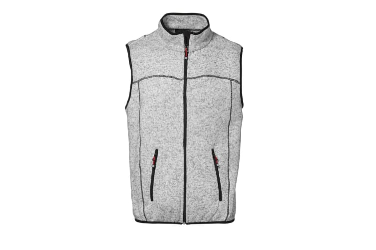 ID Mens Knit Melange Regular Fitting Sleeveless Fleece Vest (Grey melange) (M)