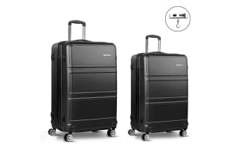 2pc Luggage Sets Suitcase Black Trolley Set TSA Hard Case Lightweight