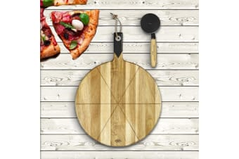 Premium Pizza Cutter anServing Board Set