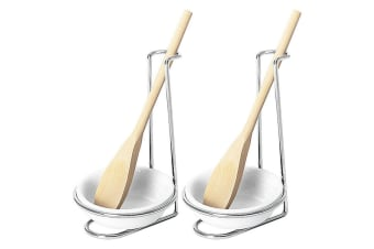 2x Avanti Lifestyle Spoon Rest w Wooden Spoon Kitchen Cooking Utensil Clean Chef