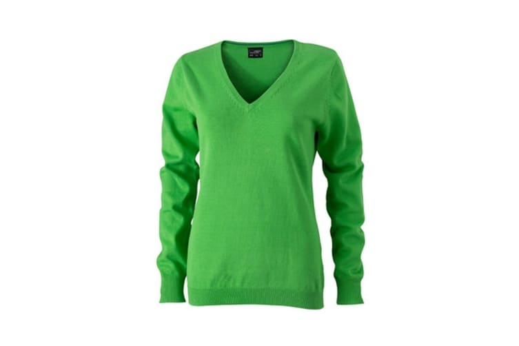 James and Nicholson Womens/Ladies V-Neck Pullover (Green) (L)