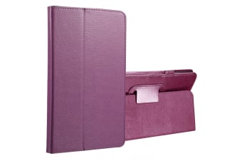For Samsung Galaxy Tab A 8.0 SM-T380 T385 Case Lychee Leather Cover Purple