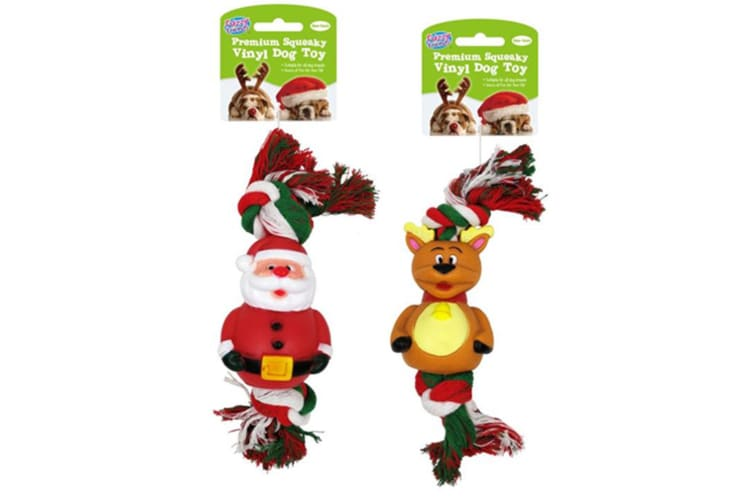 2PC Dog Toys Vinyl Rope Pet Puppy Chew Toy Gift Set Christmas Xmas Themed D4962