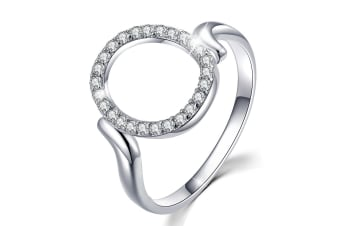 .925 Circle Of Fame Ring-Silver/Clear   Size US 8
