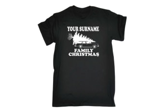 123T Funny Tee - Your Name Family Christmas - (Large Black Mens T Shirt)