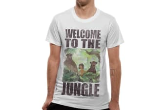 Jungle Book Unisex Adults Welcome To The Jungle Design T-shirt (White) (S)