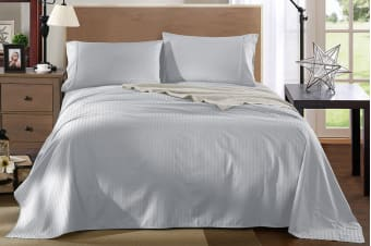 Royal Comfort Kensington 1200TC 100% Egyptian Cotton Stripe Bed Sheet Set (Queen, Grey)