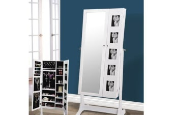 Full Length Mirror Jewellery Cabinet 2 Doors WHITE