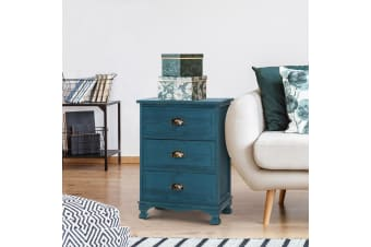 Artiss Bedside Tables Drawers Side Table Cabinet Vintage Blue Storage Nightstand