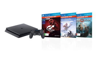 Sony PlayStation 4 Slim Console 1TB (Black) with God of War, GT Sport & Horizon Zero Dawn Bundle