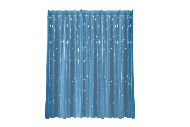 2X Star Blockout Curtain Panels Blackout 2 Layer Eyelet Room Darken Pure Fabric  -  Aqua Blue180x180cm (WxH)