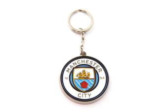 Manchester City FC Official Metal Football Crest Keyring (White/Blue)