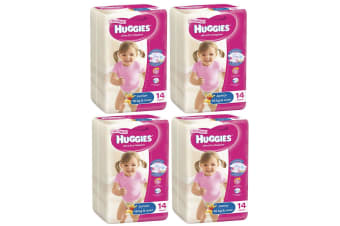 56PK Huggies Junior Size 6 16kg+ Ultra Dry Nappy Pants Girls