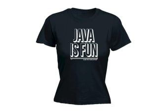 123T Funny Tee - Java Is Fun Snoe - (Large Black Womens T Shirt)