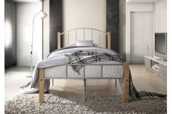 POLO King Single Metal Bed Frame w/ Solid Rubberwood pole - Natural + Silver