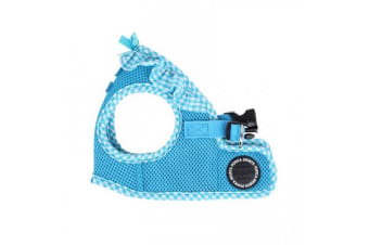 Puppia Gingham Vest Sky Blue - Small