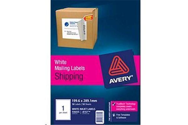 AVERY INKJET LABELJ8167-50 50 SHEETS