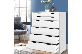 6 Chest of Drawers Tallboy Dresser Storage Cabinet White Bedroom