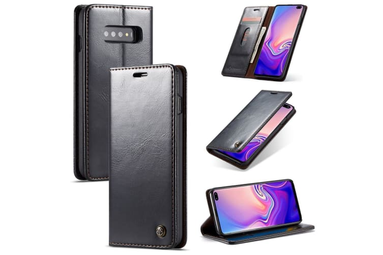 For Samsung Galaxy S10 Plus Case  Black Wild Horse Texture Stand Wallet Cover