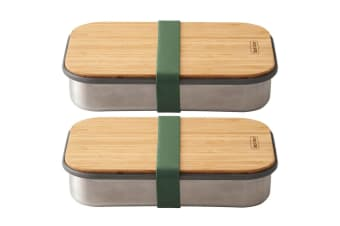 2x Black + Blum 900ml Stainless Steel Sandwich Box Container w  Bamboo Lid Green