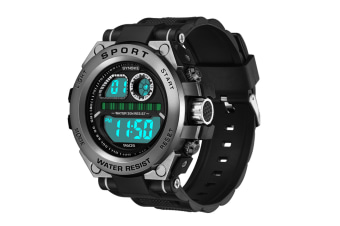 Men'S Watch Fashion Waterproof Multifunctional Student Electronic Watch Black