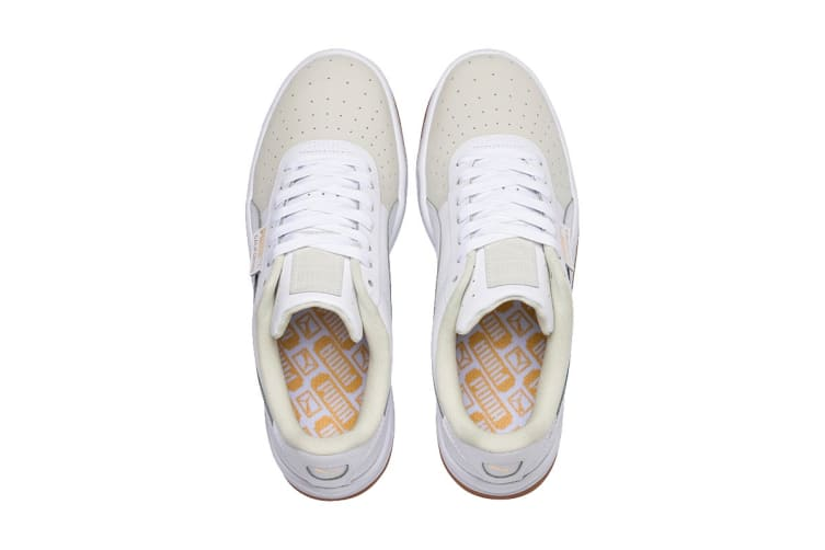 PUMA Women's California Exotic Shoe (Whisper White/White/Gold, Size 6.5)
