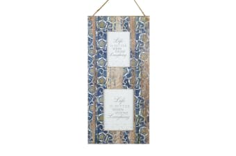 Patterned Wood Double Frame (Blue) (23 x 50 x 1.5cm)