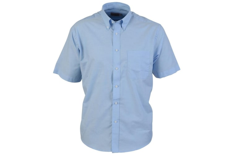 Absolute Apparel Mens Short Sleeved Oxford Shirt (Light Blue) (2XL)